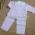 100% de algodón de color rosa raya camisa de manga larga y pantalones 2 chica de piezas pijama conjunto