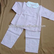 100% cotton pink stripe long sleeve shirt and pants 2 pieces girl's pajamas set