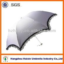 Fashion Lady Lace Fringe Anit-sun Parasol Umbrella 3 Folding