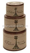 2013 Hot Sell New Silk Print Paris Wood Linen Storage Round Box Vintage Decorative Storage Box