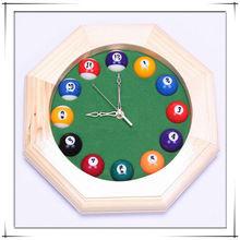 Billiards Ball Style Solid Wood Clock