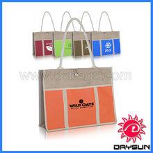 Promotion two-tone jute panel tote bag , personalized tote bag, jute bags