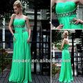 ruched verde seguidor de vestidos de noite