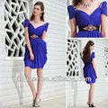 de estilo árabe cap mangas de color púrpura de vestidos de noche vestidos 2014