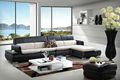 sofá de couro em forma de l canto genuine sofá chaise