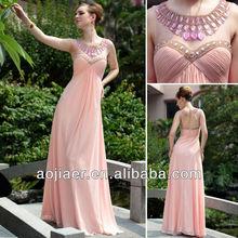 Chiffon Fabric Pink Crystal Neck Beautiful Lady Evening Dresses 2014