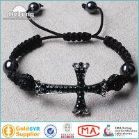 Fashional Black Sideways Cross Shamballa Beaded Bracelet