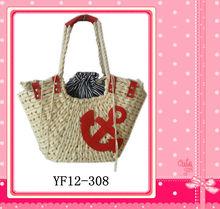 2013 new design and fashion corn husk chevron straw bag