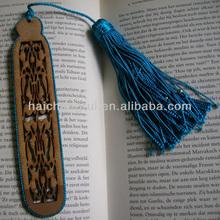 Bookmark, Moroccan with art silk tassel turquoise, filigree wood cut
