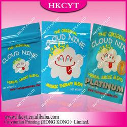 Custom herbal incense bag with top zip lock/Resealable cloud nine spice potpourri bag