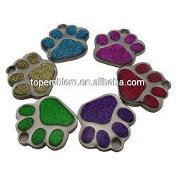 Custom paw glitter pet tags