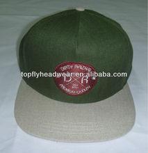 Five panel custom flat brim headwear with feather grey wool snapback cap fashion headwear custom logo/brand