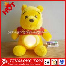 Lovely cute kids winnie bear night light plush toy