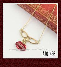 fashion glasses lip necklace for women