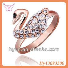 2013 NEW ARRIVAL POPULAR JEWELRY CLASSIC FULL DIAMOND FEMALE SWAN RING