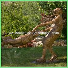 playing children cast bronze sculpture CLBSN-D023