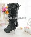 fancy retro black metal couro estilete sapatos de salto alto botas de plataforma calçados femininos botas