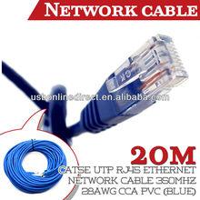 Cat5e UTP RJ45 Ethernet Network Cable 350MHz 28AWG CCA PVC 20M(blue)