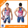 2013 Runtowell high quality sublimated wholesale wrestling singlet/mens wholesale wrestling singlet