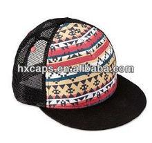 Flat bill mesh snapback baseball cap