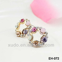 fashion new colorful crystal stud earrings small quantity can supply