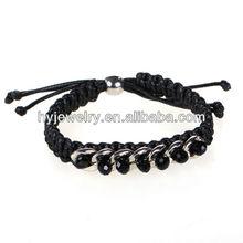 Handmade black woven thread bracelet women with glass beads wholesale