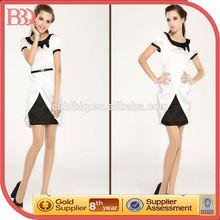 Elegant Black and White Taffeta Slim Western Prom Dress