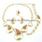 2014 new design jewelry set african jewelry set red stone cheap custom jewelry