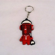 Hot sell mini guitar rubber giveaway key ring