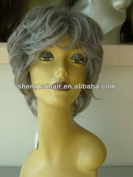 Hand Tied Fashion Lady's Grey Hair Wig