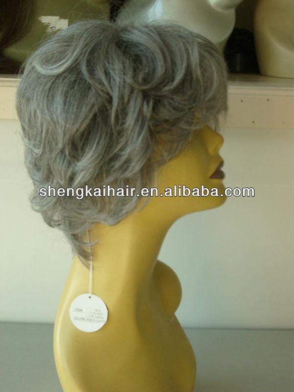 Hand Tied Fashion Lady's Grey Hair Wig