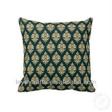 13041612 Green Gold Damask Pattern Throw Pillows