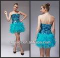 lovely girl baratos azul vestido de cóctel de esposa de hoja de loto