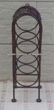 factory wholesale handicraft vintage 3 bottles stand holder carrier wrought iron wine rack