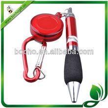 badge reel with ballpoint pen & carabiner