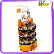 Hotsale point of sales shampoo corrugated display shelf in supermarket