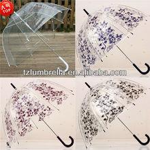 Adult Size Silk Screen Printing Clear POE Transparent Umbrella