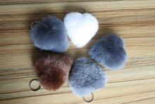 heart shape rex rabbit fur pompon keychain