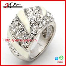 R2898 fashion enamel ring palladium rhinestone jewelry