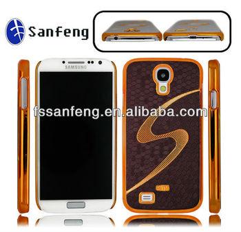 Designer brown royal gridding pattern S-shape case cover skin for samsung S4 i9500,for samsung S4 electroplated case