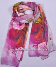 shawl fashion scarf 2013 100% silk with digital print shawl