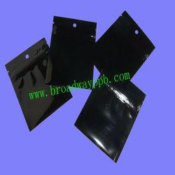 black stock mylar bag, small foil ziplock bag in stock