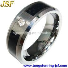 black carbon fiber and diamond tungsten ring