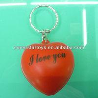 anti stress 4cm heart shape anti stress PU ball keychain