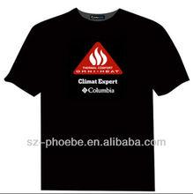 Flashing Brand Advertising On T-shirt EL Brand Logo Velcro Prints T-shirt