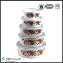 3pcs cast iron color decal porcelain enamel cookware