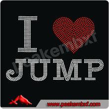 I Love Jump Rhinestone Transfers Iron on Motif Design for T-shirts
