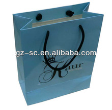 Light Blue Color Art Paper Shopping Bag with PP Rope SCPP117-53