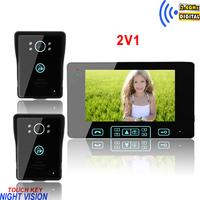 "Luxury 7"" TFT-LCD intercom wireless doorbell with far transmission distance"
