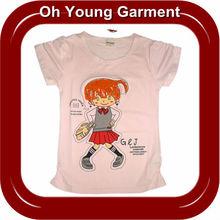 wholesale factory price top fashion girls printing cotton soft blank short sleeve t shirt